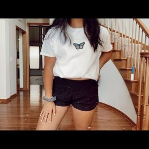 Brandy Melville Tops - blue butterfly patch tee